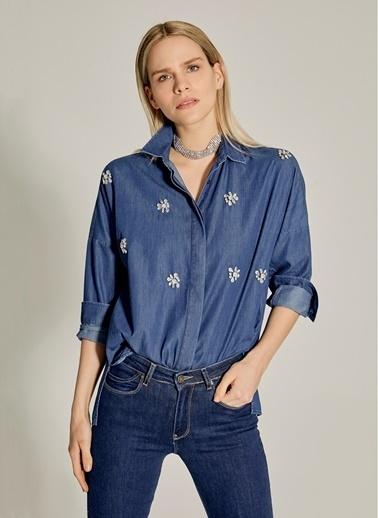 NGSTYLE Taş İşlemeli Denim Gömlek Lacivert